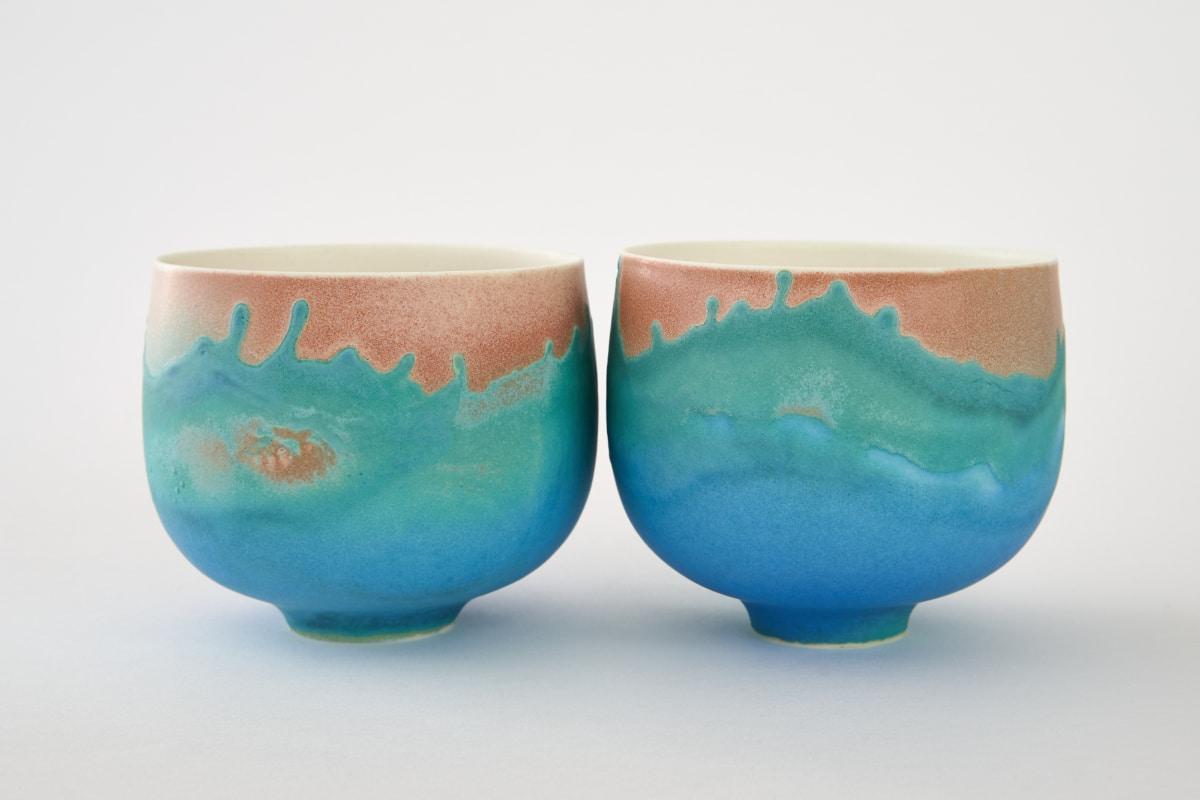 Deux bols en porcelaine émaillé de Sandrine Baillon